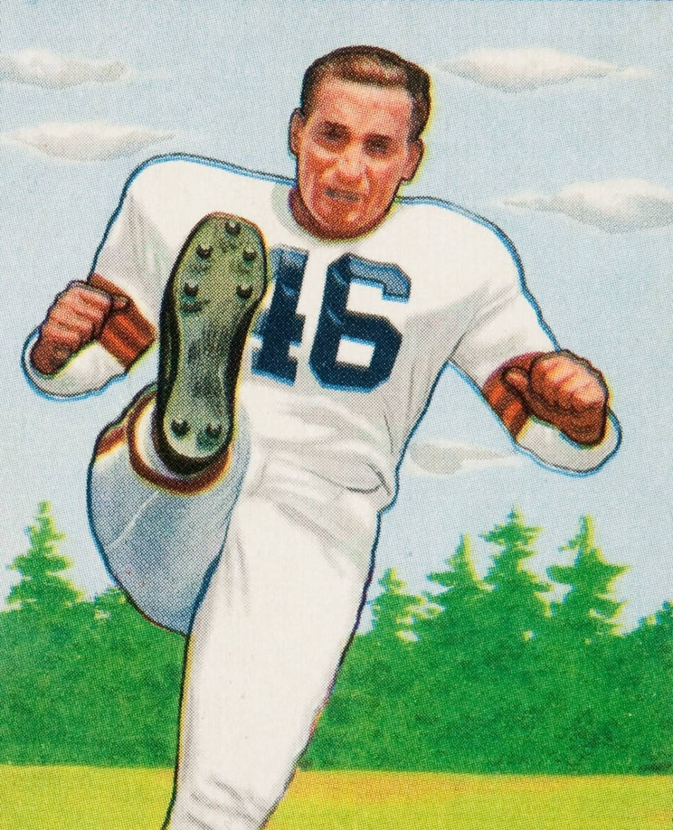 Former Cleveland Browns kicker and offensive lineman, Lou Groza, is pictured on his 1950 Bowman football card.