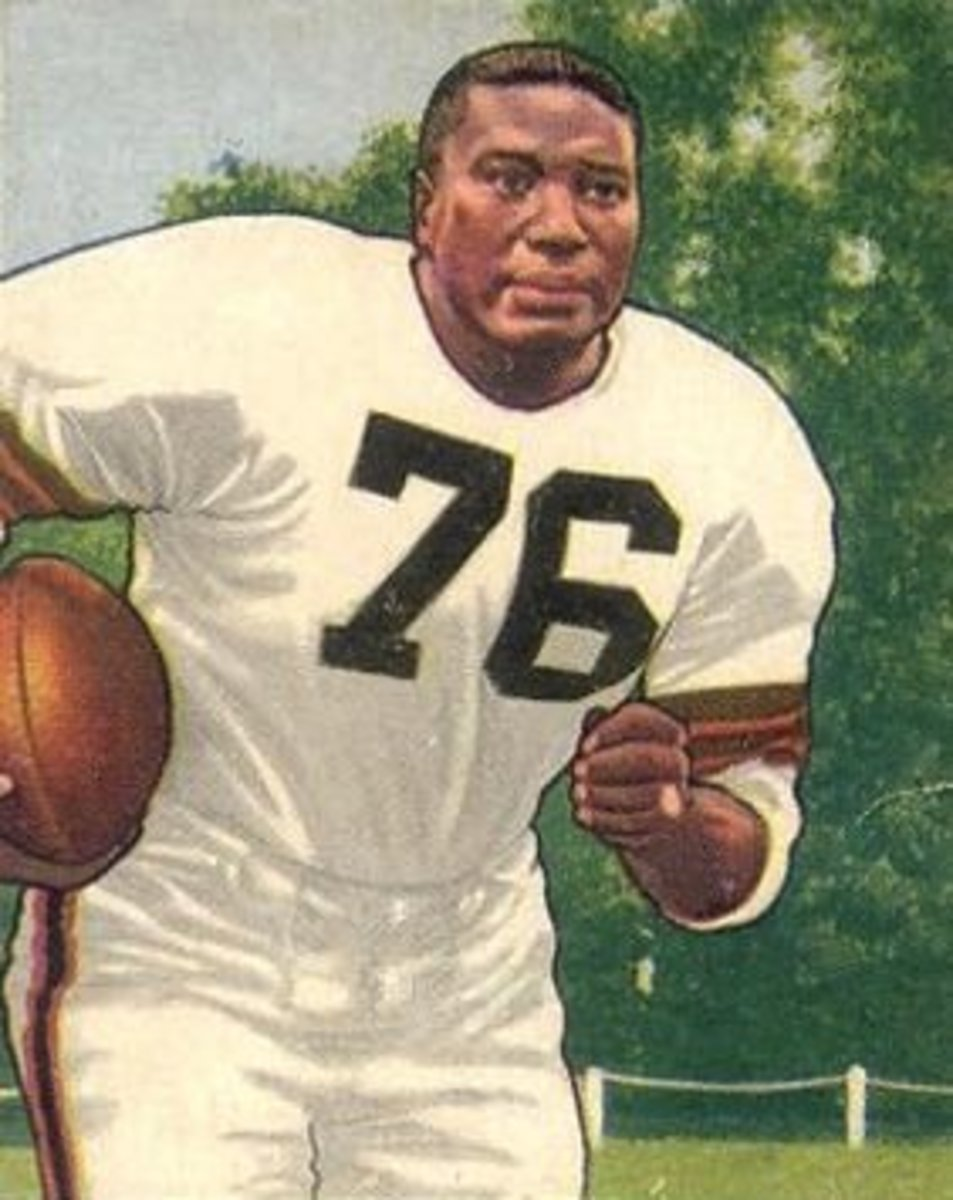 Hall of Fame fullback, Marion Motley, is pictured on his 1950 Bowman football card. Motley was a bruising runner, who is the best fullback in Cleveland Browns history.