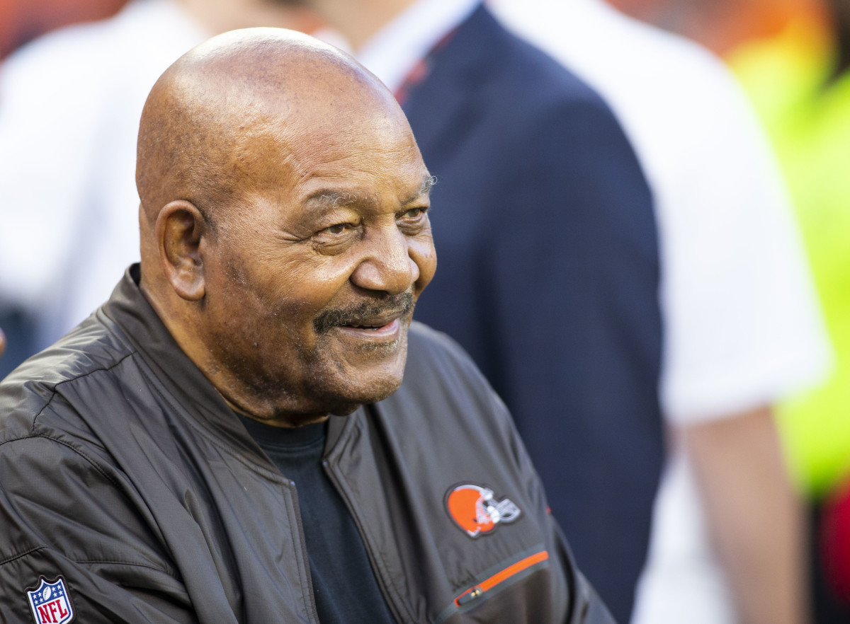 Cleveland Browns Hall of Fame running back, Jim Brown, smiles on the sidelines before a 2019 game against the Los Angeles Rams at FirstEnergy Stadium.