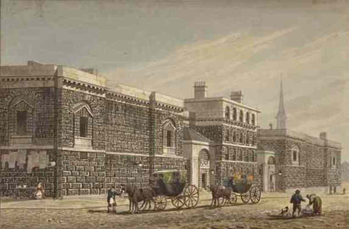 The grim exterior of Newgate Prison in about 1810.