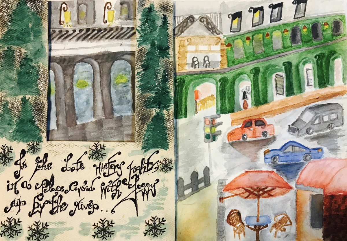 On a cold wintery night, I went to meet a friend for dinner. On the left is a sketch of the restaurant in Greenwich on a foggy night. On the right is a sketch of a girl, all dressed up, in a black cab going to the restaurant.