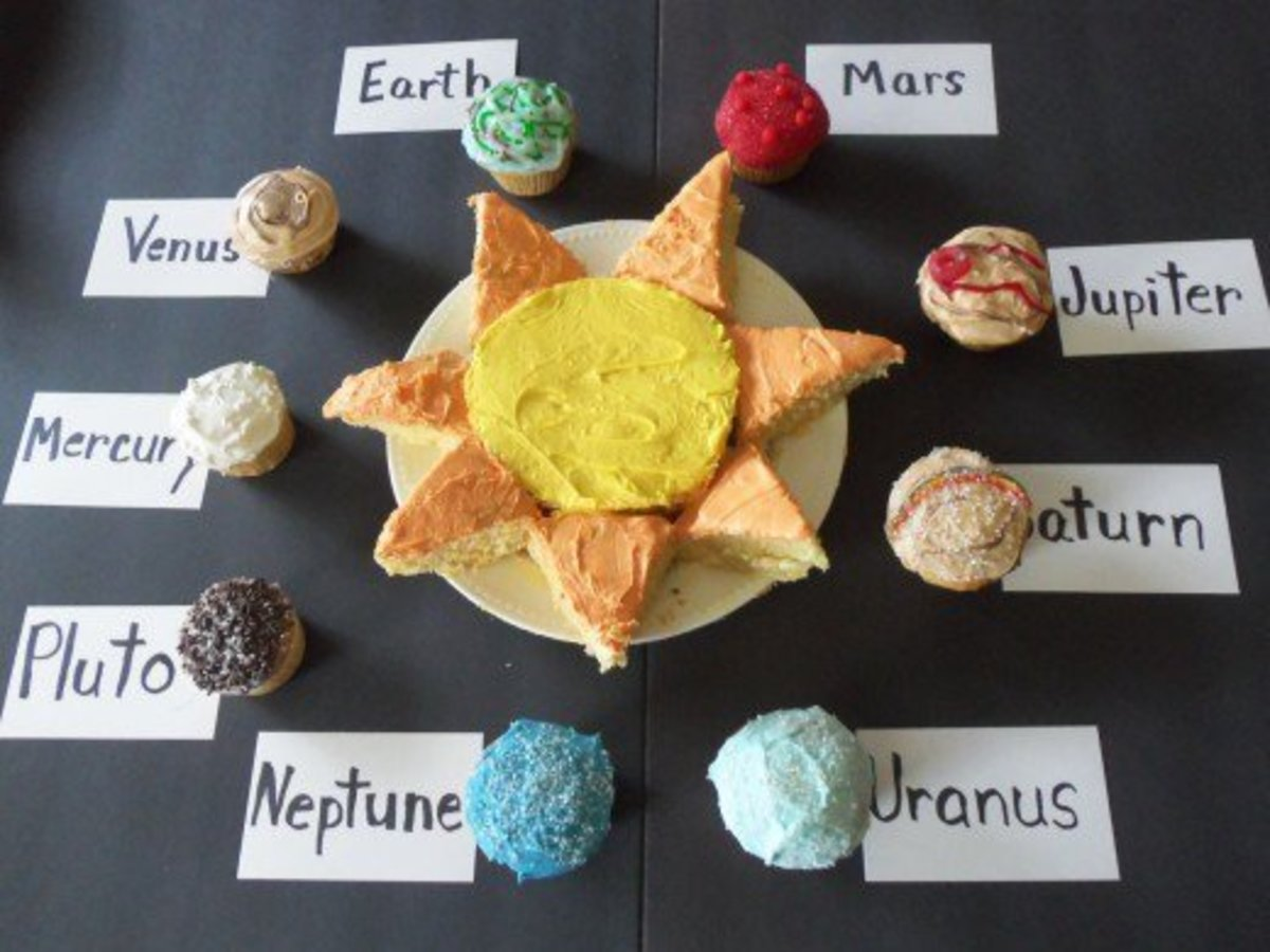 The completed set of solar system cupcakes. Delicious and educational!