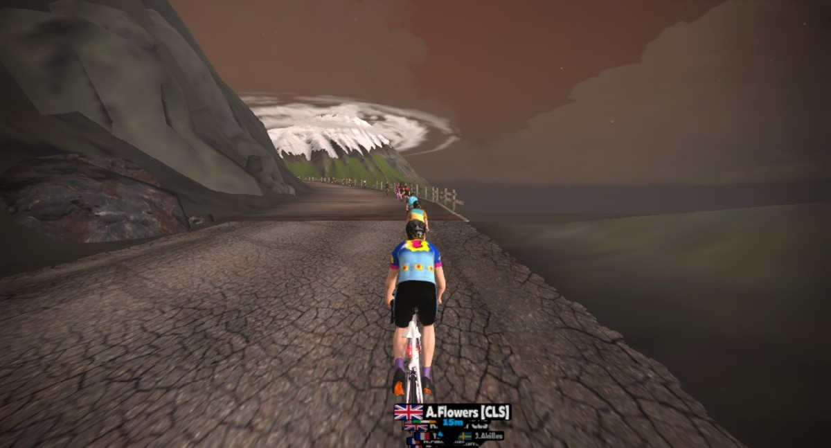 Cycling through some of the Volcanic landscape of Watopia on Zwift