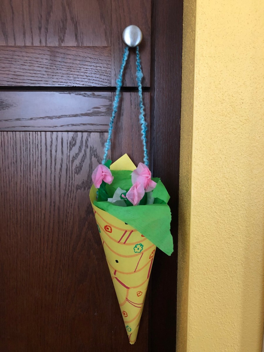 This May basket is made out of construction paper.