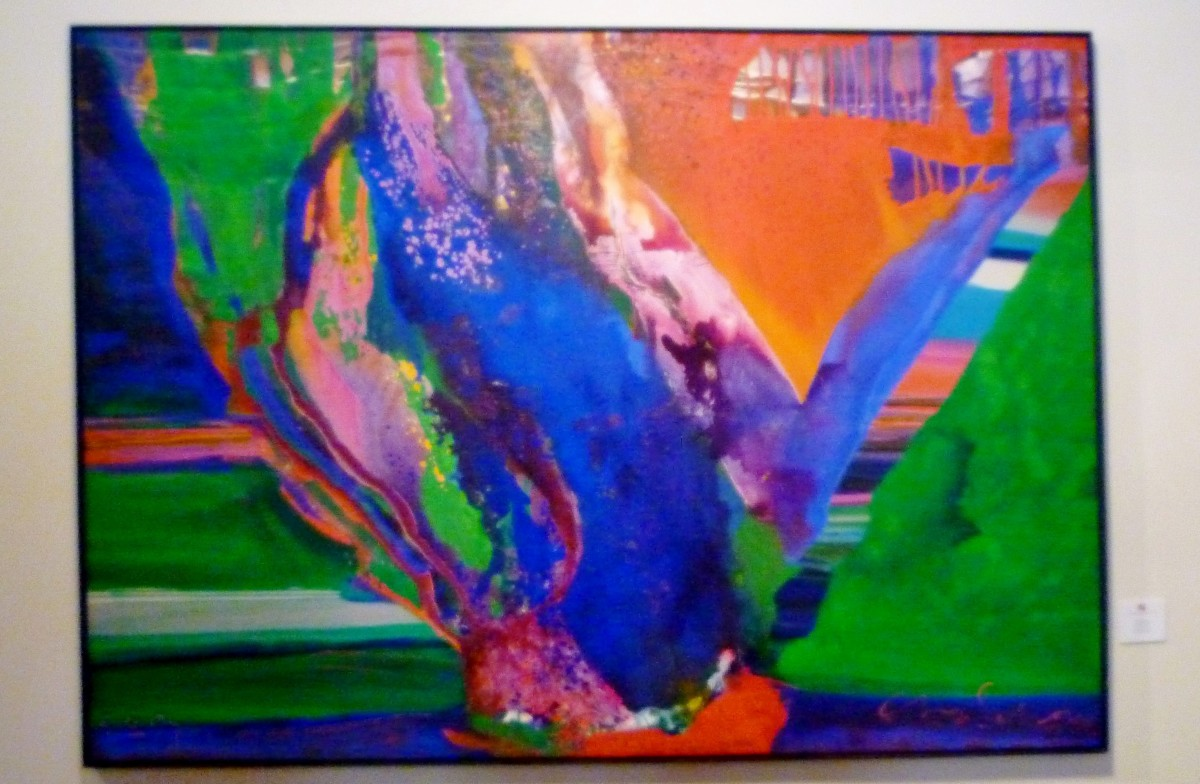 Artist Charles Schorre, Acrylic on canvas titled Aqua Spring, 1973 (61 X 84 inches)