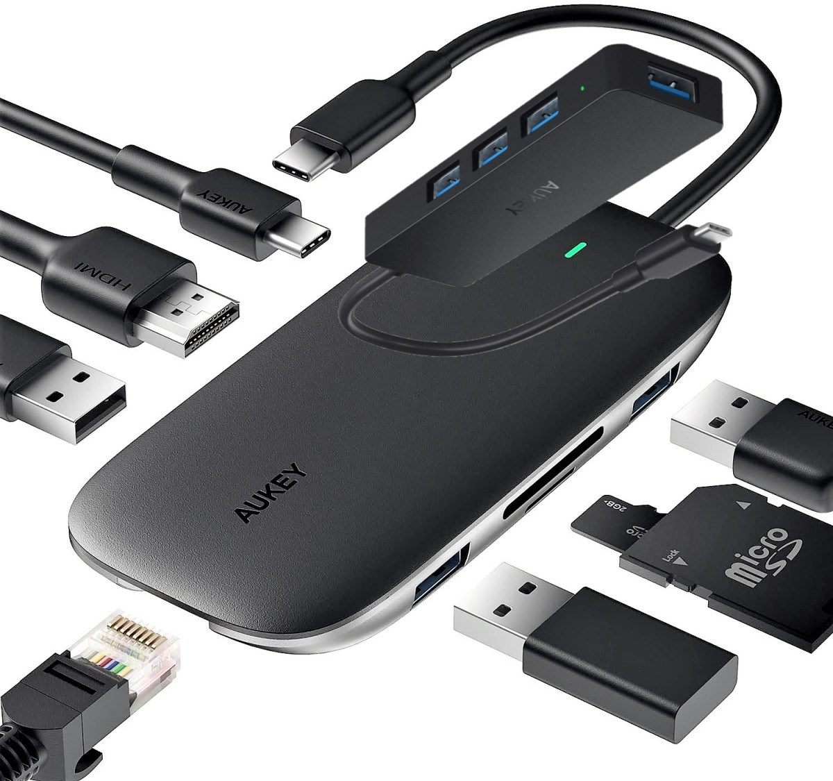 Aukey Link PD Pro Hub (bottom) - USB-C to 4 Port USB 3.0 Hub (top)   *Devices not to scale