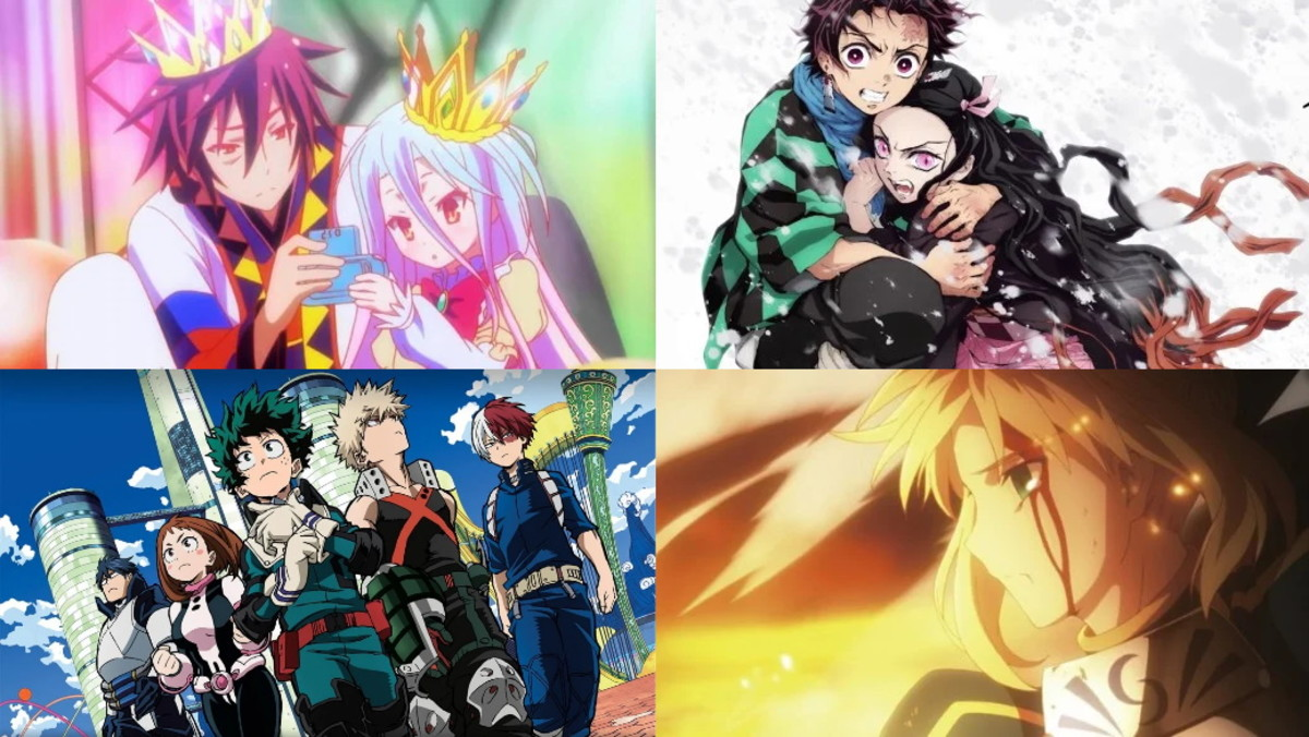 Clockwide from top left: No Game No Life (Madhouse), Kimetsu no Yaiba (Ufotable), My Hero Academia (BONES), Fate/Stay Night: Unlimited Blade Works (Ufotable)