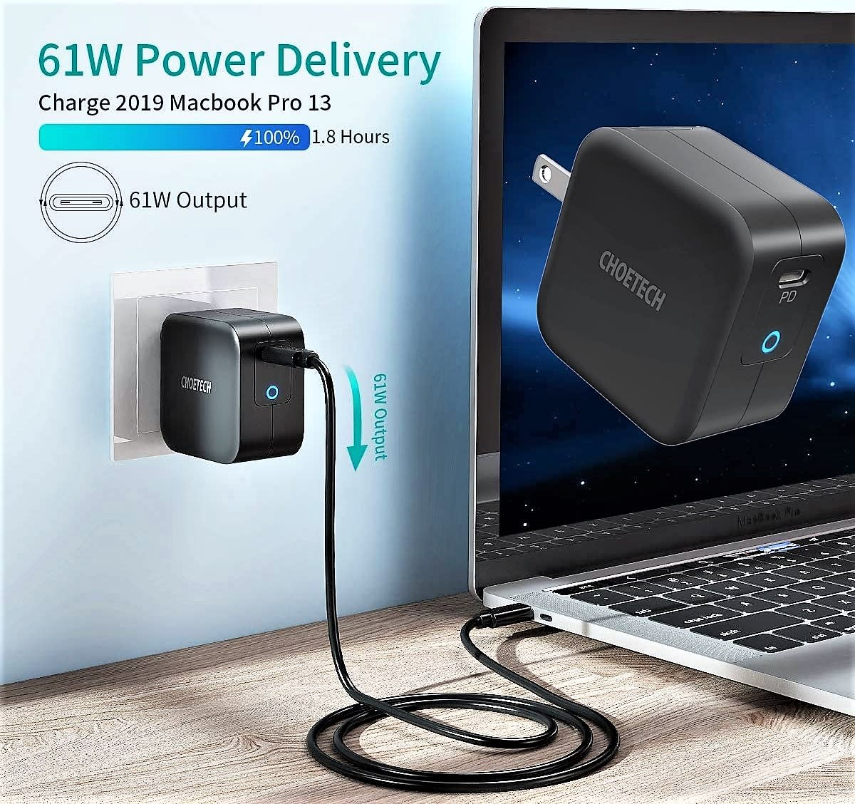 Choetech 61W PD USB-C Foldable Mini Wall Charger