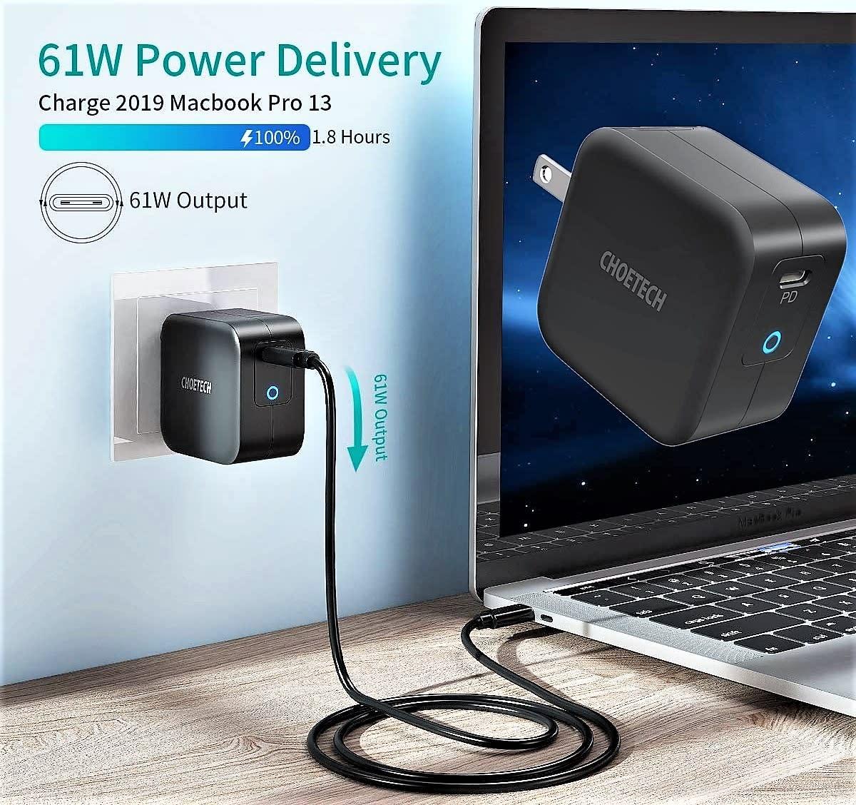 Choetech 61W PD USB-C Foldable Mini Wall Charger