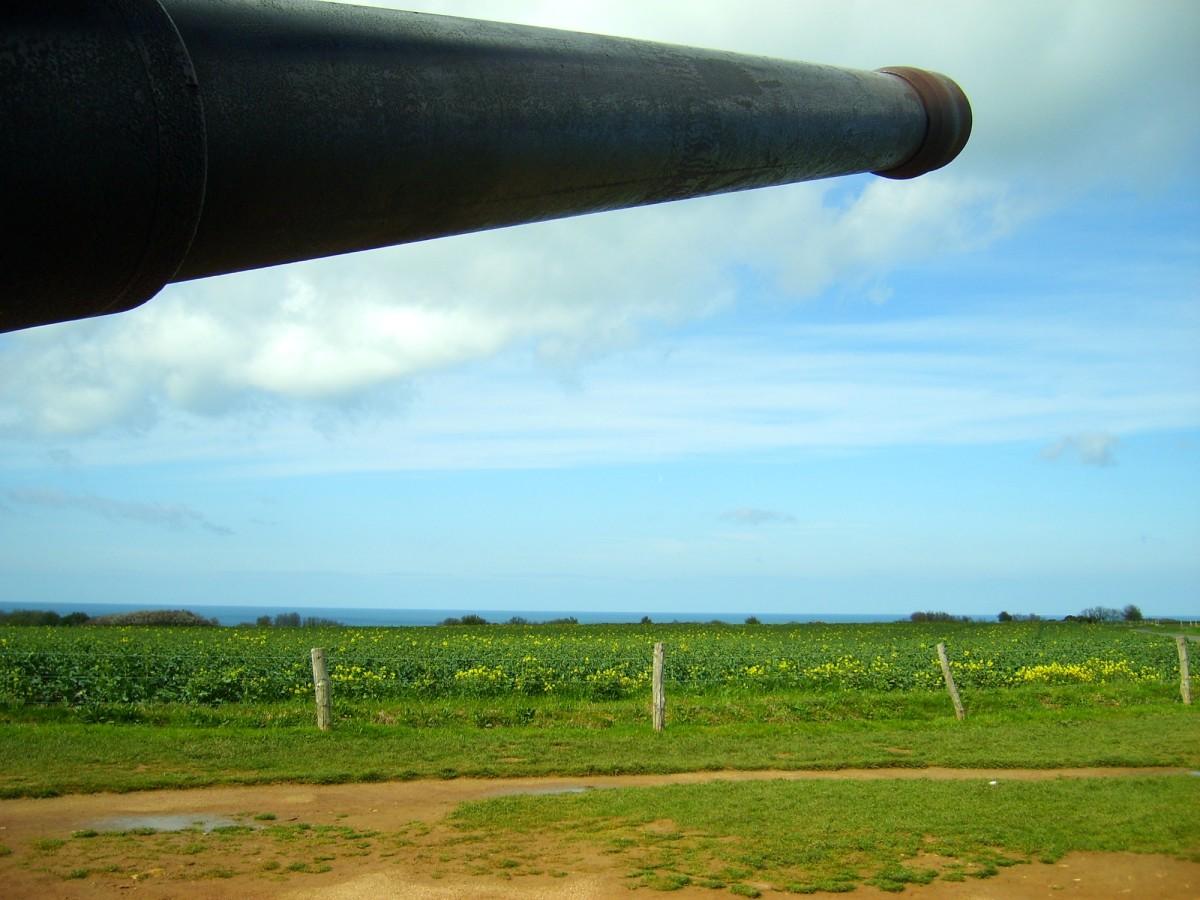 German gun pointed towards the Atlantic Ocean in Normandy, France