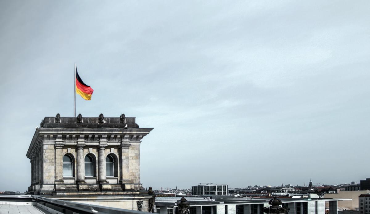 The German flag flutters above Berlin