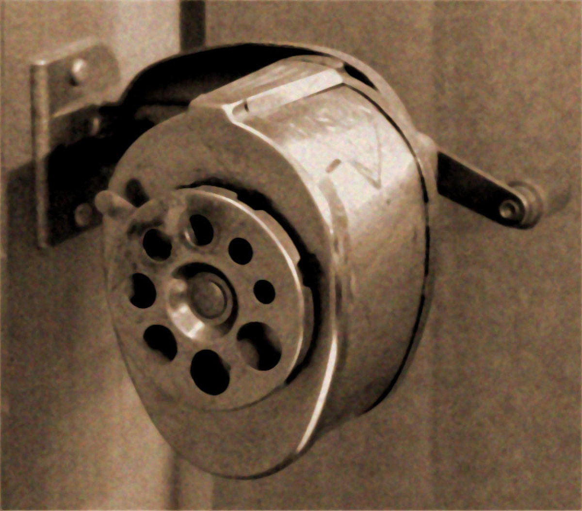 The school's wall-mounted pencil sharpener.