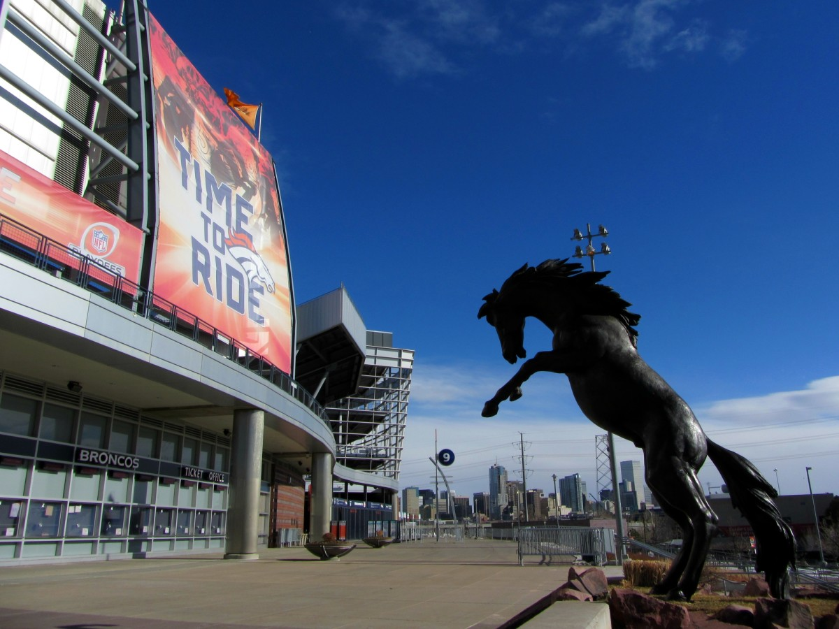 Horse in front of Empower Field at Mile High