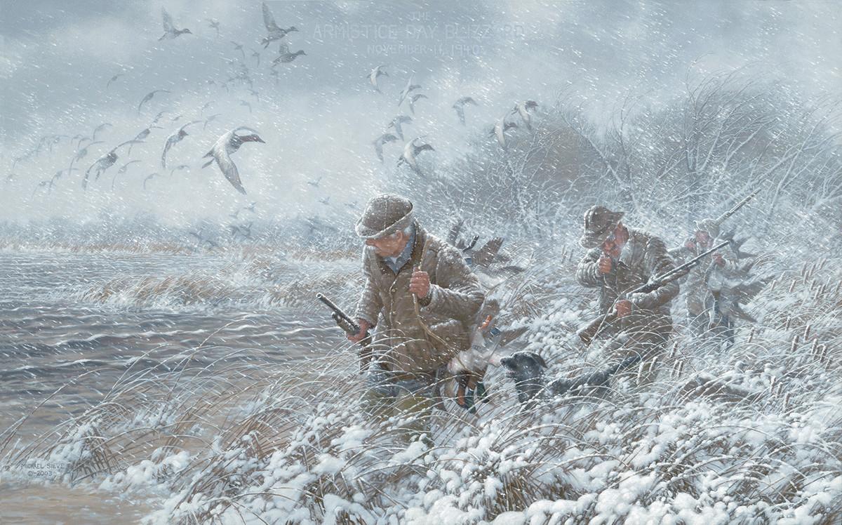 Duck Hunters in Blizzard