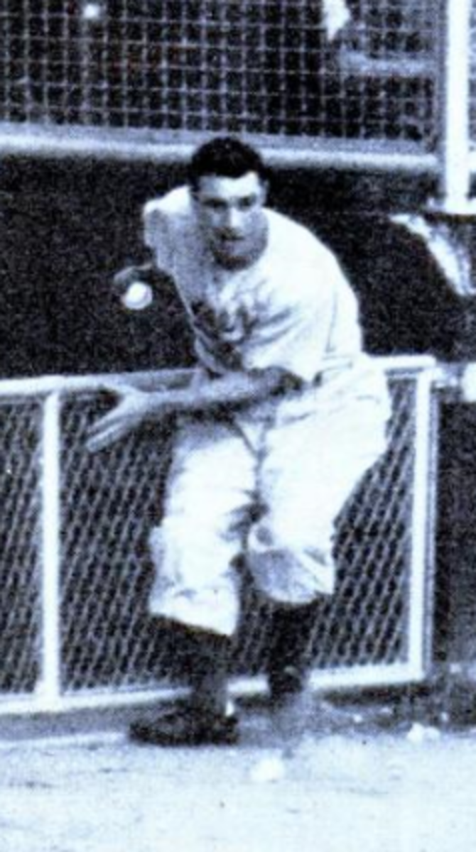 Al Gionfriddo seconds after catching Joe DiMaggio's long drive in Game 6 of the 1947 World Series.