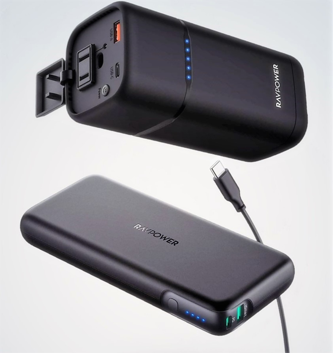 RAVPower 80W AC Power House (top) - RAVPower 60W PD Power Bank (bottom)