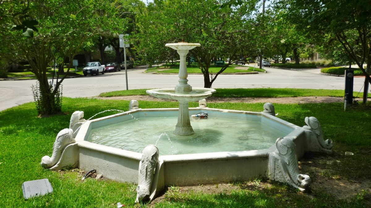 Antique Dolphin Fountain in Houston's Lamar Park