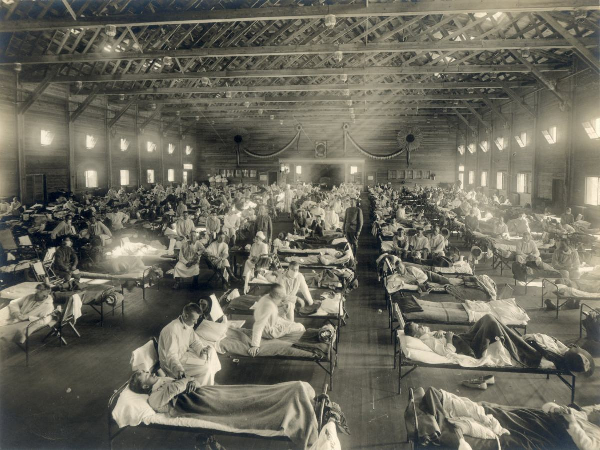 Bed after bed filled with Spanish flu patients.