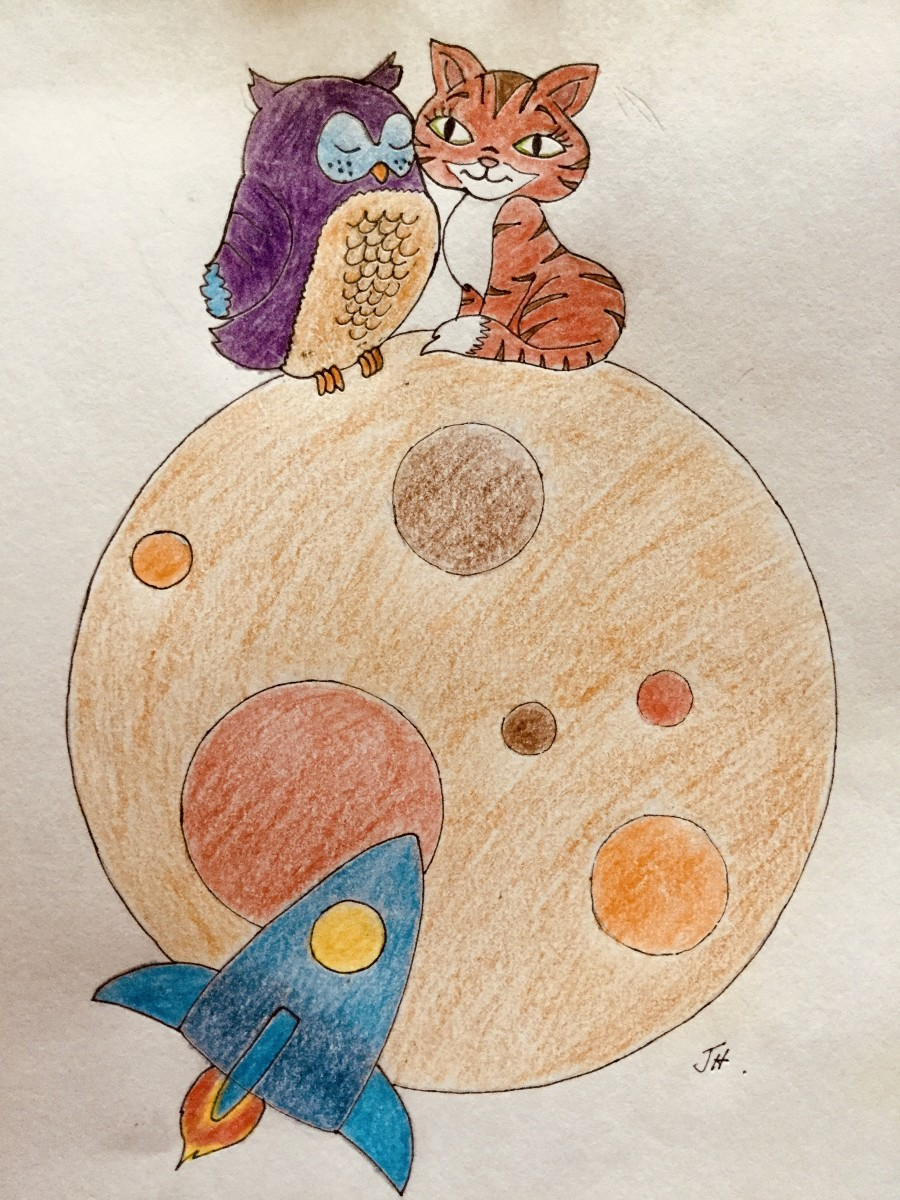 The Owl and the Pussycat Went Into Space, original art by John Hansen, 2020