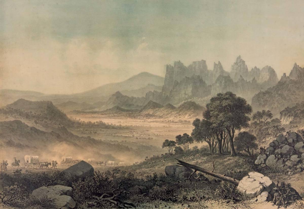 Wagon Train entering Mountain Meadows in Utah Territory, 1857.