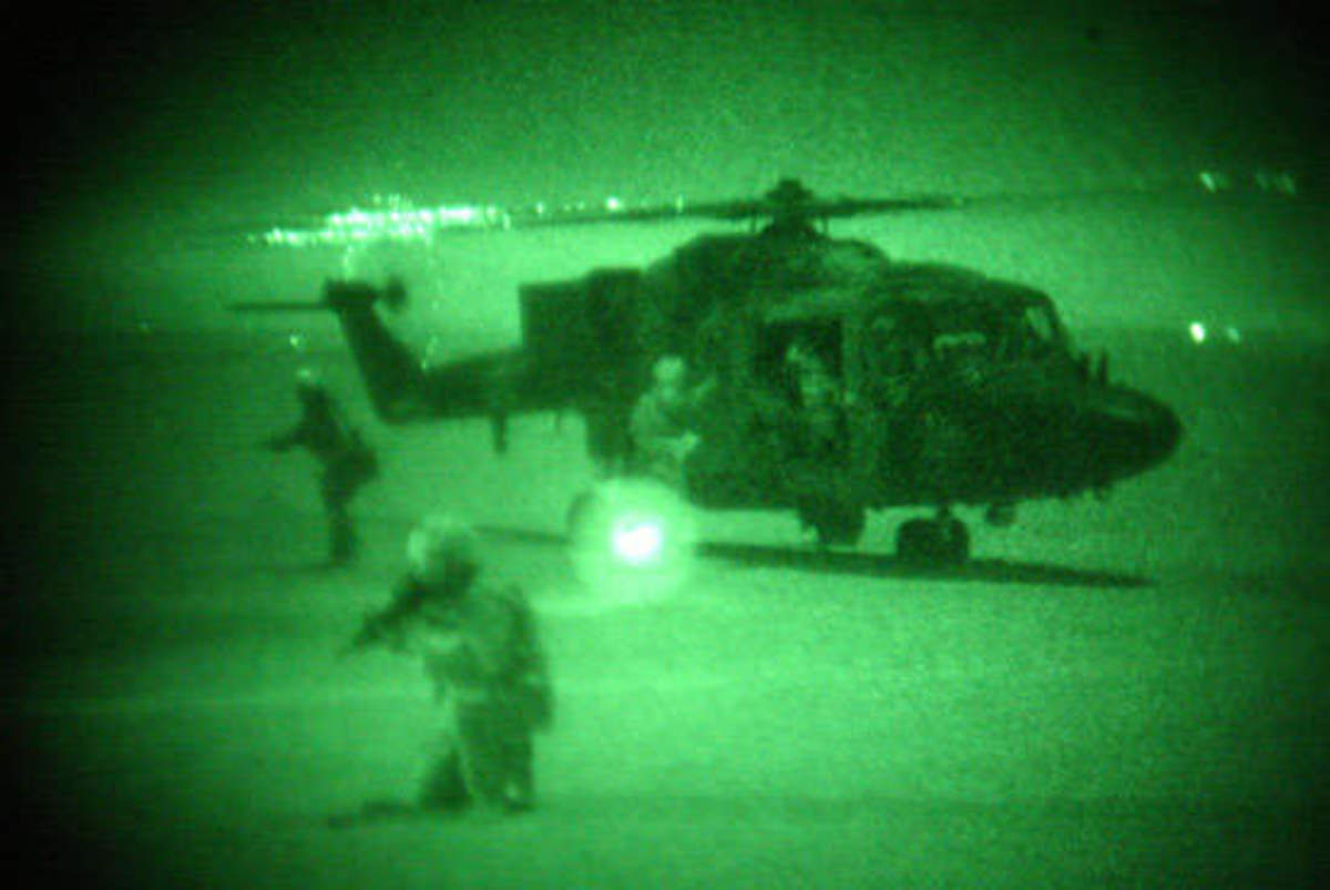 Scorpion one arriving (View through night vision goggles)
