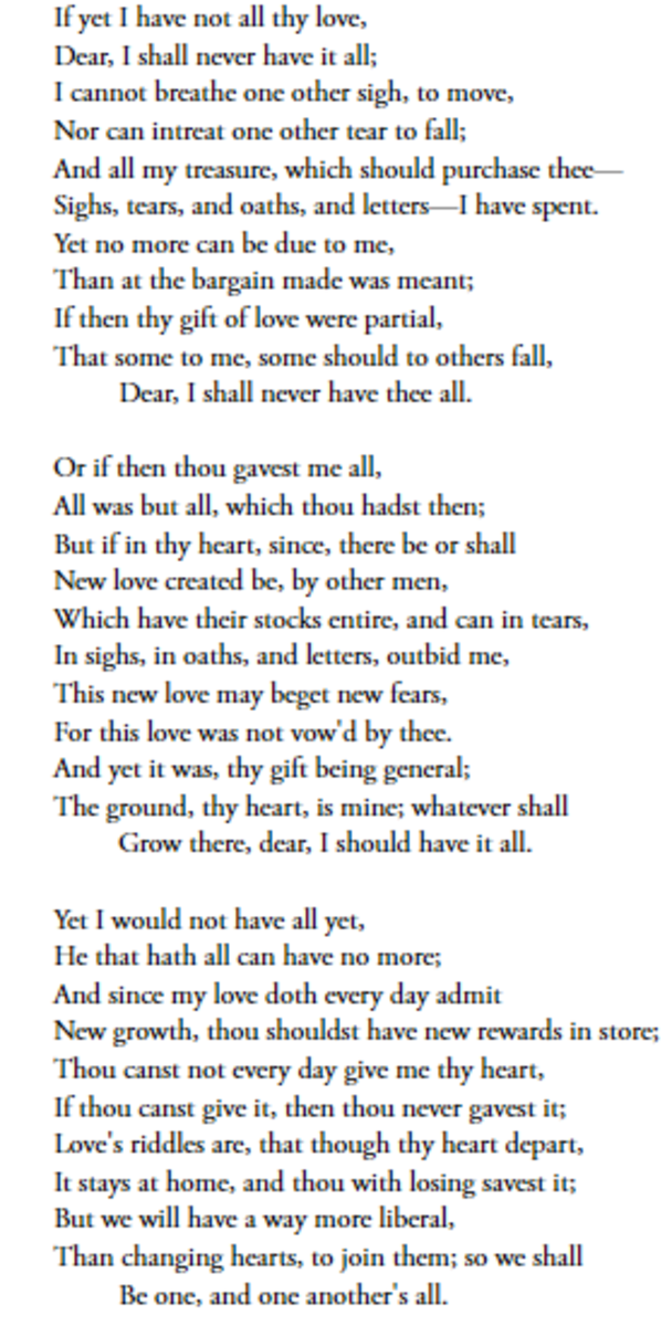 Analysis of Poem Lover's Infiniteness by John Donne