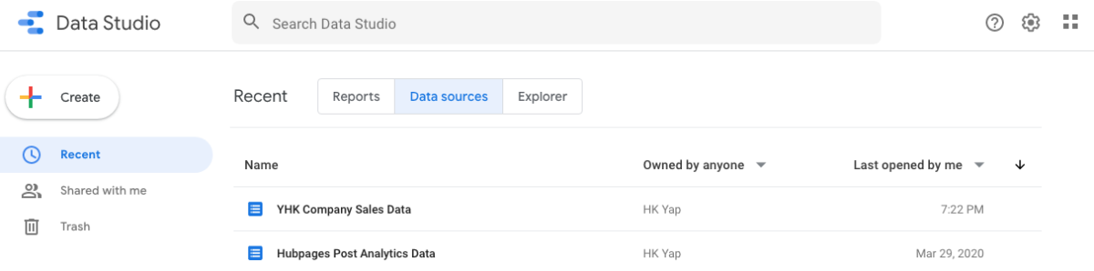 Managing Data Sources in Google Data Studio