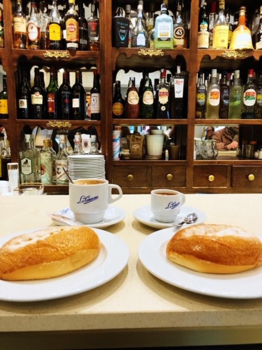 Cortados and Bolle de Leche at La Campana in Seville
