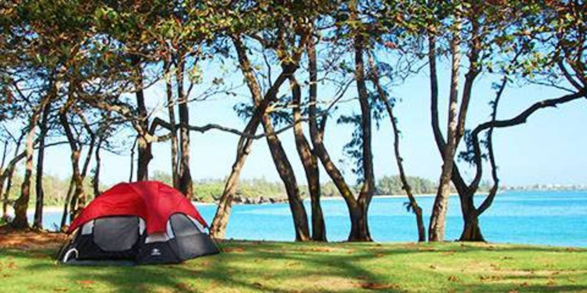Camping in Kokolio Beach Park in the Honolulu, Hawaii, area
