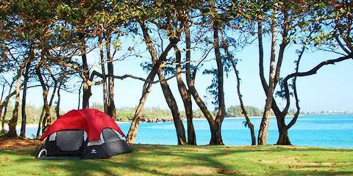 Camping in Kokolio Beach Park in the Honolulu, Hawaii, area