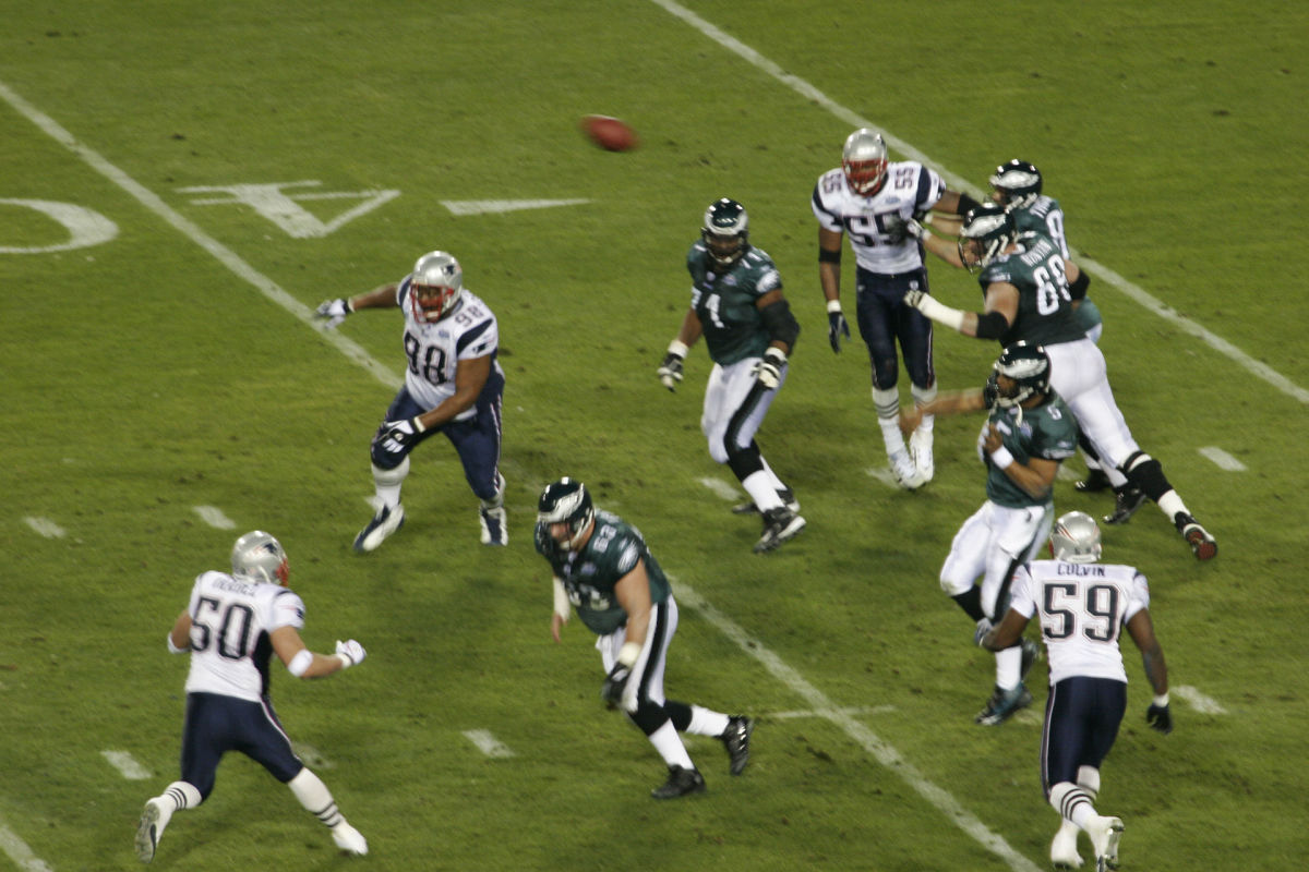 Former Philadelphia Eagles quarterback Donovan McNabb throws a pass during Super Bowl XXXIX