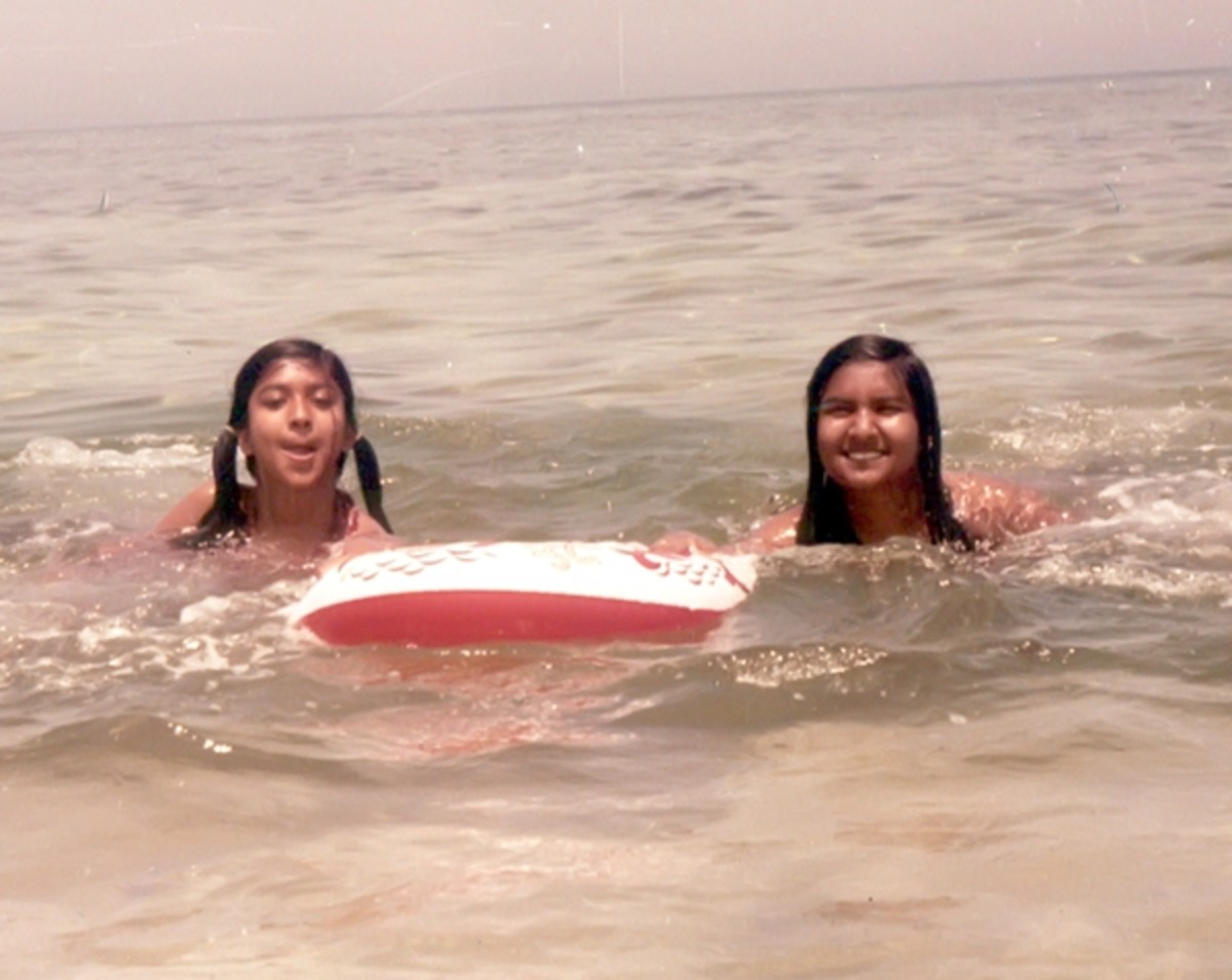 Pic1: My Younger Sister and I Learning to Swim
