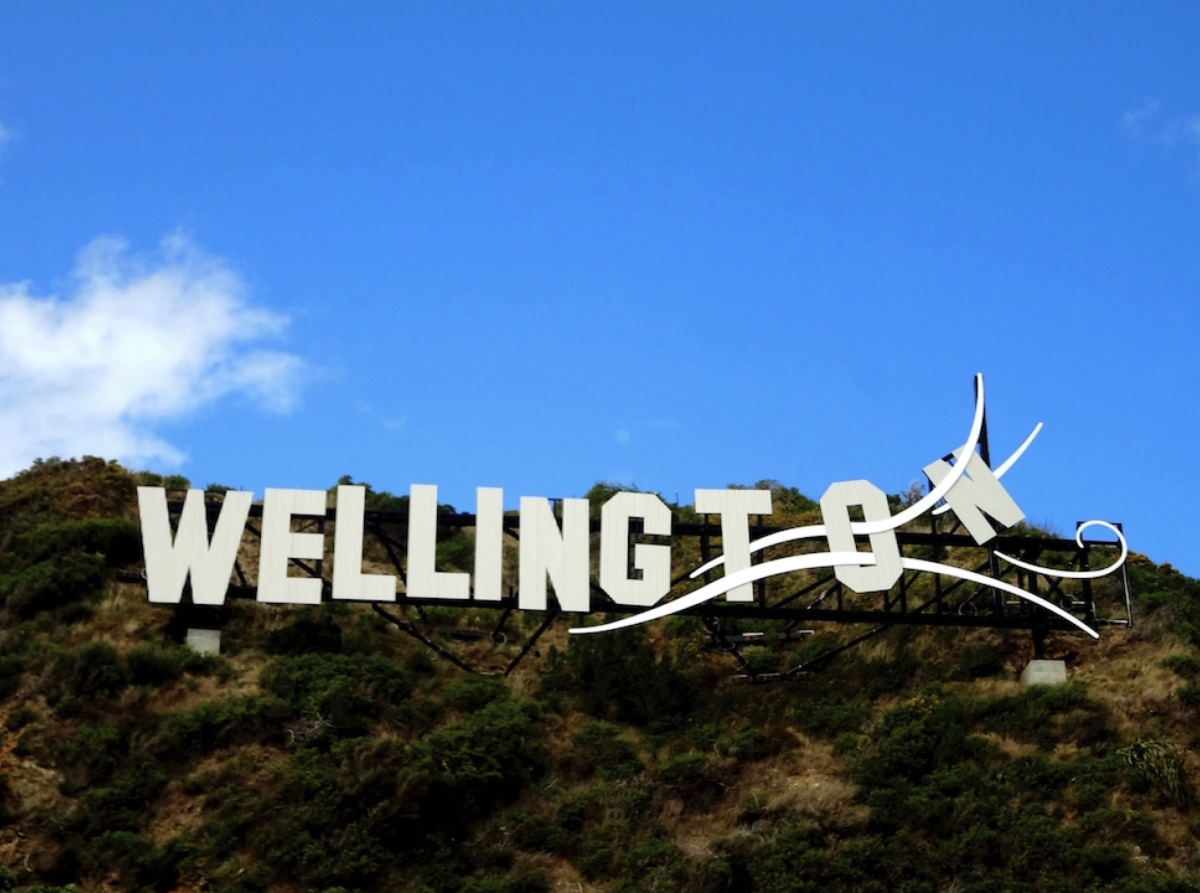 The Windy Wellington Sign—a play on the famous Hollywood Sign in LA—can be seen from the drive along Oriental bay.