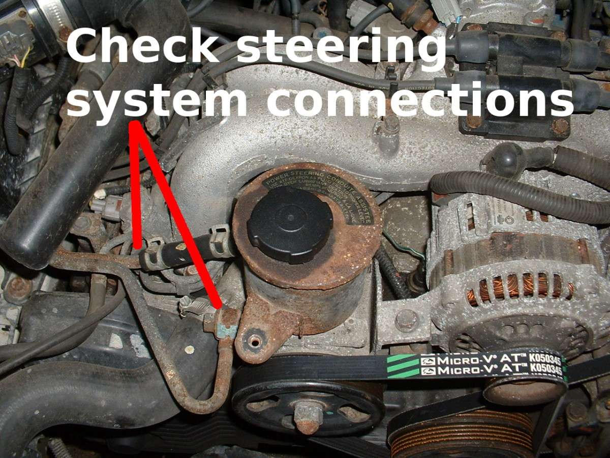 When bleeding the power steering system, check for leaks if necessary.