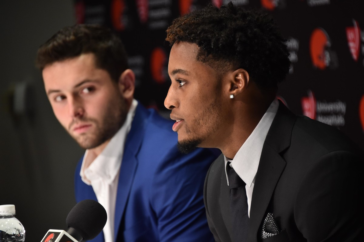 Baker Mayfield (left) and Denzel Ward speak after both being selected by the Cleveland Browns in the first round of the 2018 NFL Draft.