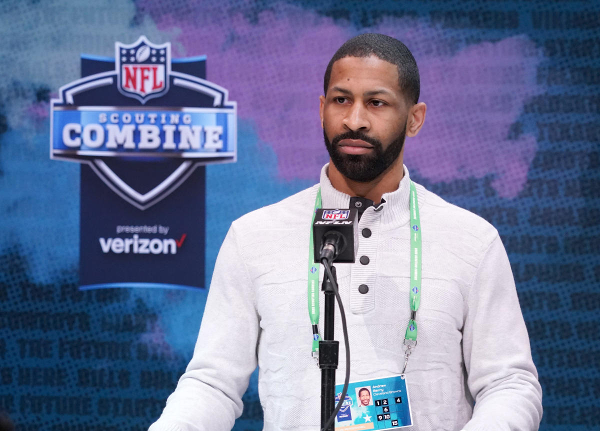 First-year Cleveland Browns general manager, Andrew Berry, speaks during the 2020 NFL Combine in Indianapolis. He is hopeful his first draft with the Browns will be remembered as a good one.