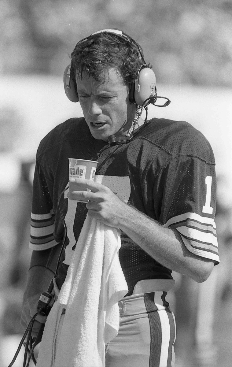 Former Cleveland Browns quarterback, Brian Sipe, is seen on the sidelines during the 1979 season. The 330th overall selection in the 1972 NFL Draft eventually became the 1980 NFL Most Valuable Player and made two postseason appearances.