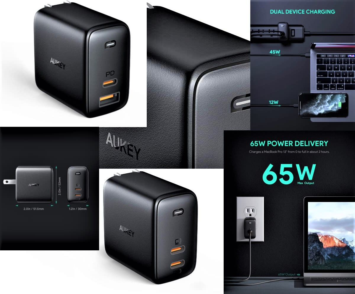Aukey 65W USB-C to A & USB C to C Dual Port Adapters