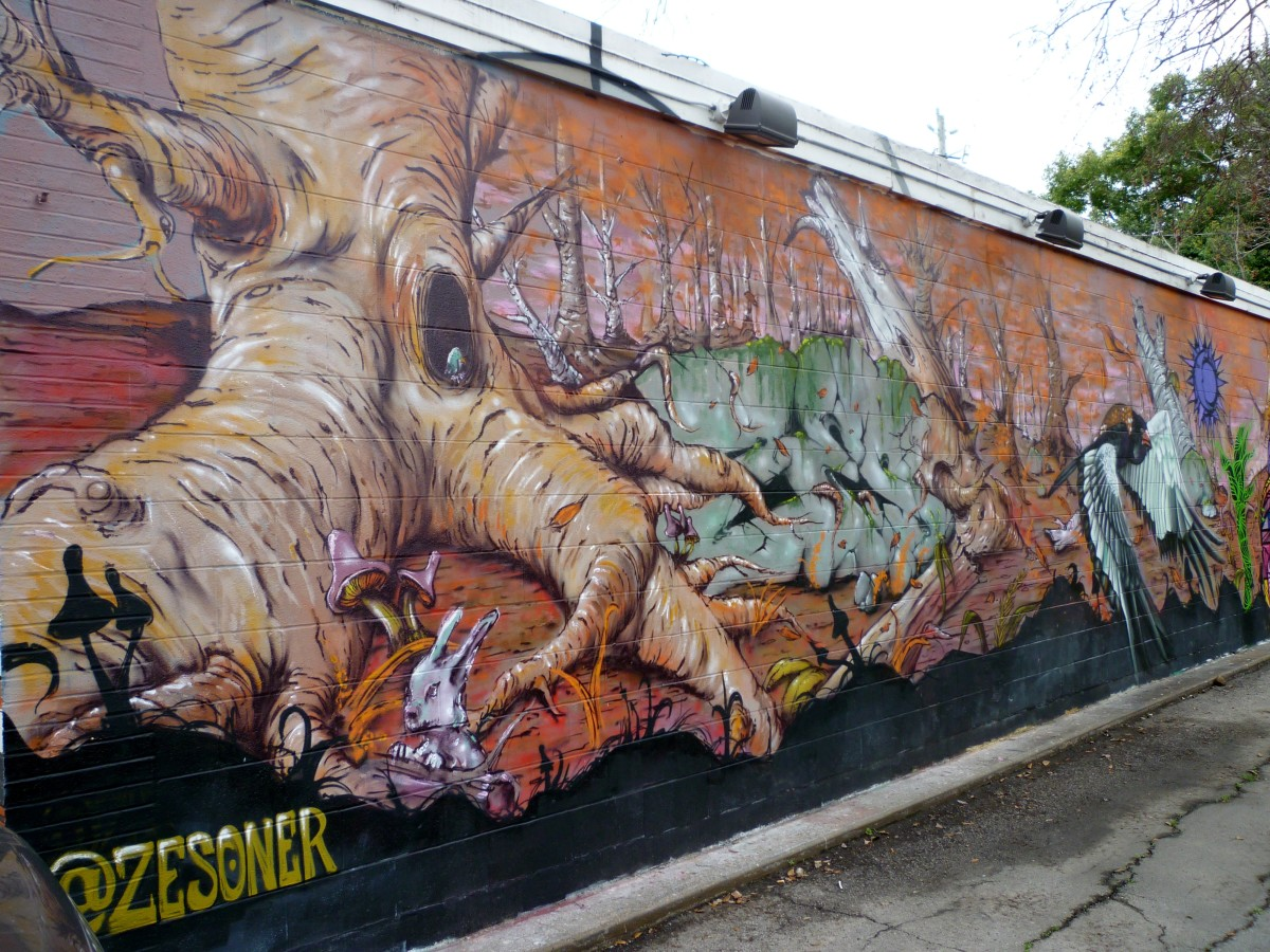 Partial view of mural by @Zesoner from the side of the building...front to back