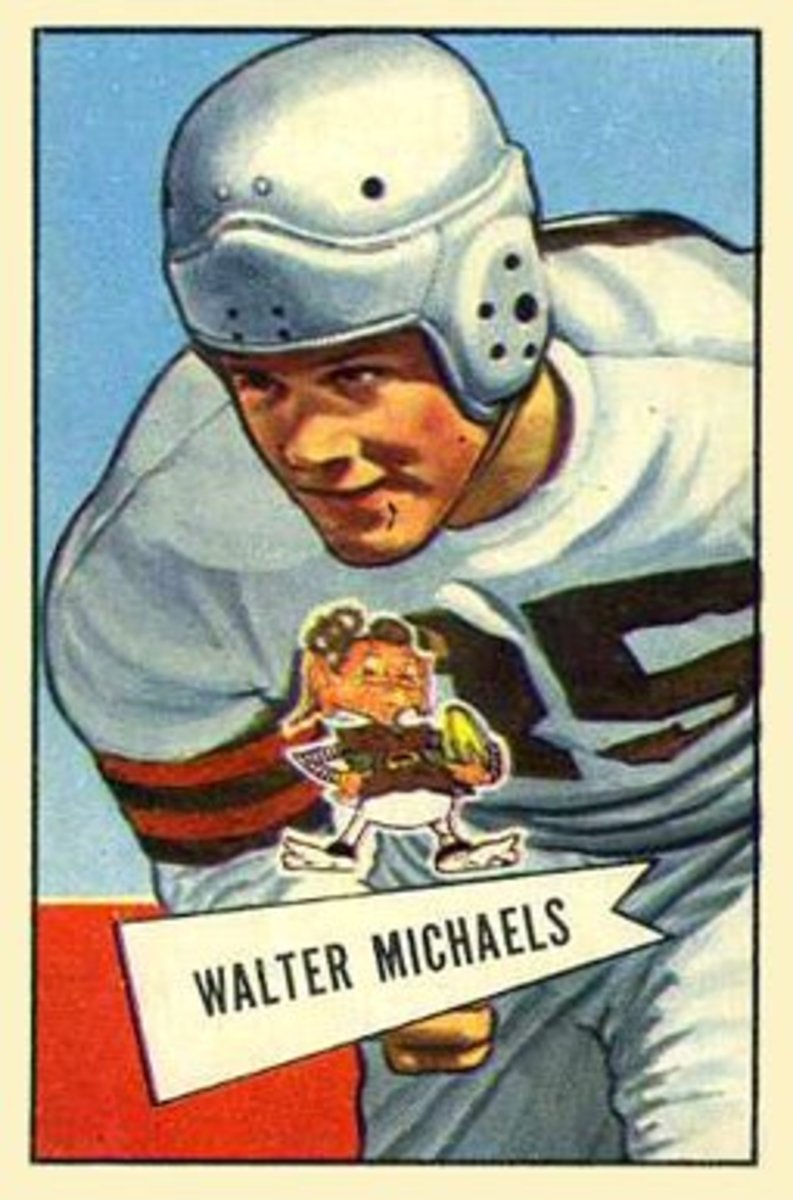 Former Browns linebacker, Walt Michaels, is pictured on his 1952 Bowman football card.