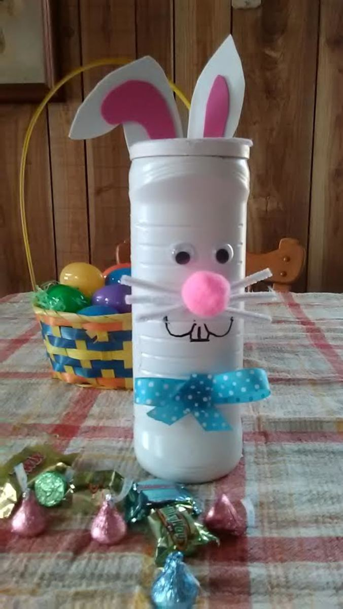 This is my completed Easter Bunny candy holder craft.