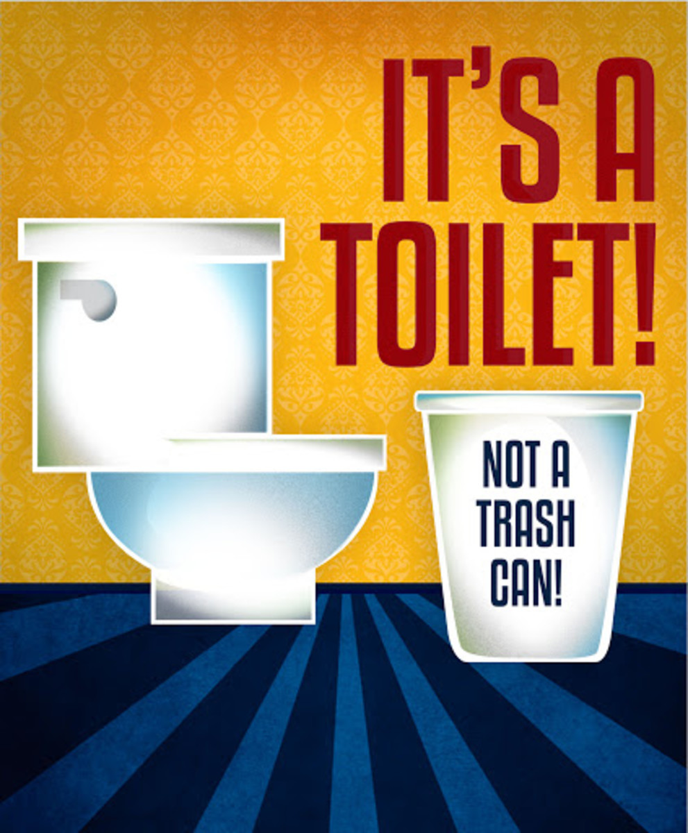 Do not place Trash in Toilet