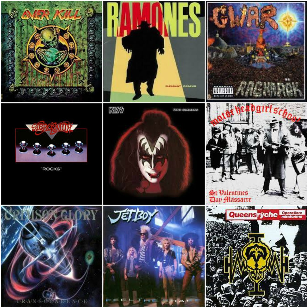 Album covers and single artwork for some iconic hard rock songs about viruses and disease.