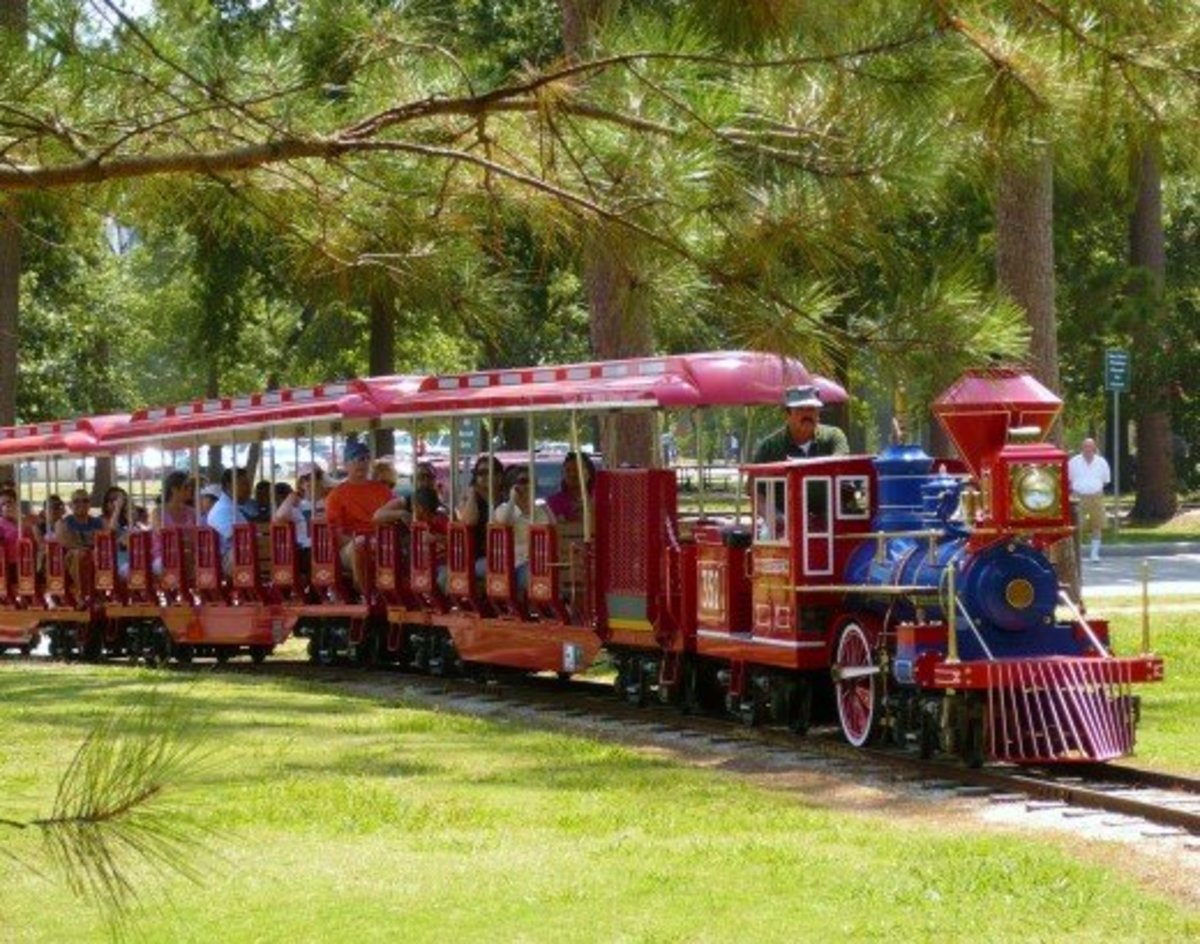 Miniature train ride through Hermann Park