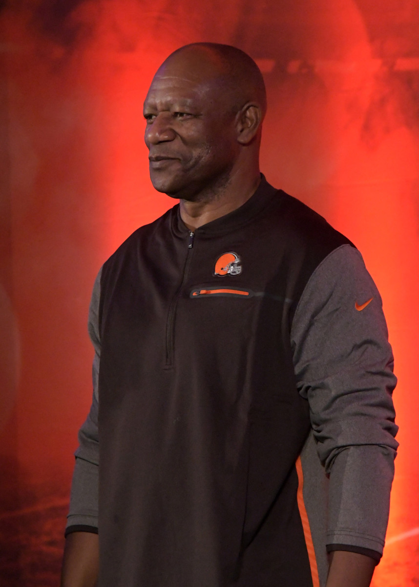 "Former Browns cornerback Hanford Dixon speaks during NFL UK Live at the Landmark Hotel in 2017. Dixon is credited with inspiring the ""Dawg Pound"" section of fans."