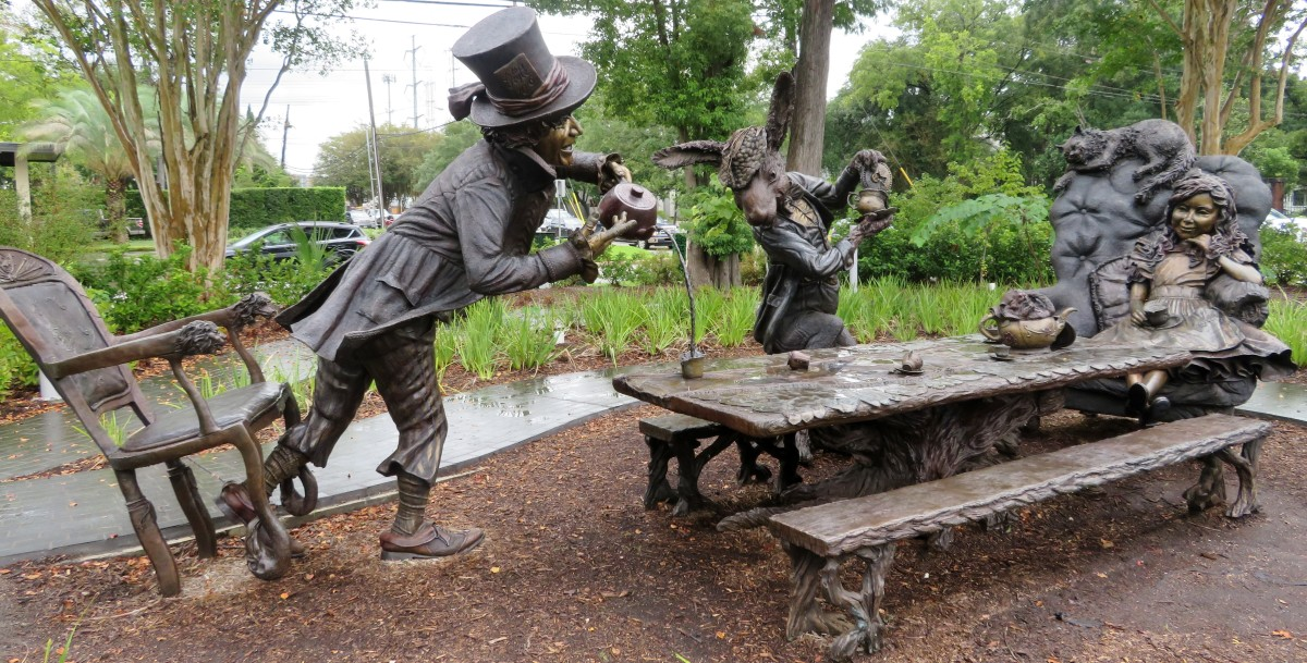 Evelyn's Park in Bellaire, TX: Alice in Wonderland Tea Party Sculpture