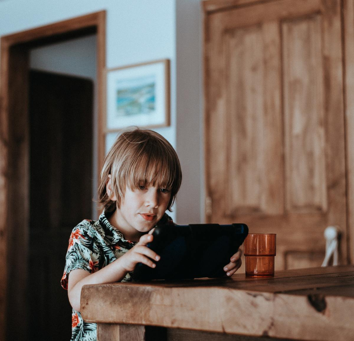 Boy using tablet computer.