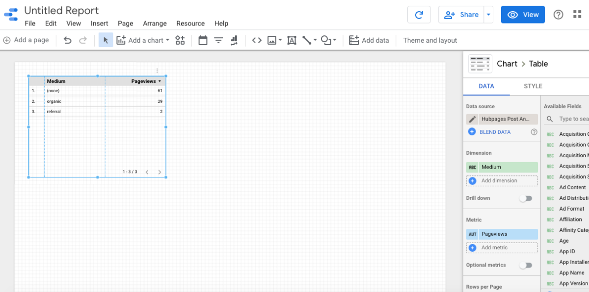 Your First Visualisation Report Using Google Data Studio