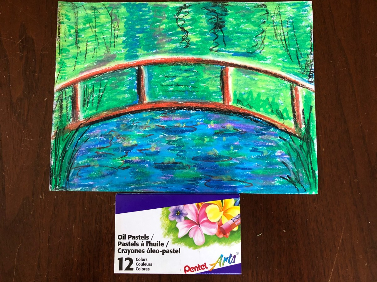 Oil pastel bridge and water lilies.