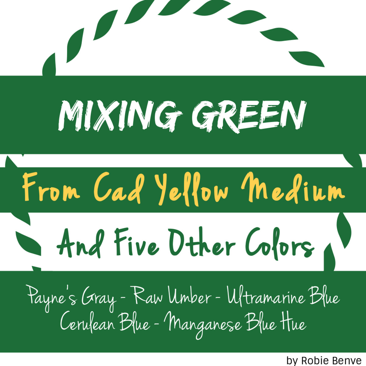 Five examples of how to mix green from Cad Yellow Medium Pure combined with Payne's Gray, Raw Umber, Ultramarine Blue, Cerulean Blue, and Manganese Blue Hue.